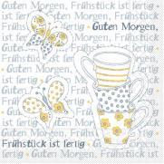 Linclass-Serviette FRÜHSTÜCK IST FERTIG GELB-GRAU 33 x 33 cm