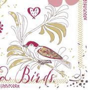 Linclass-Serviette LOVE & BIRDS BORDEAUX 40 x 40 cm