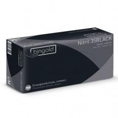 Einweghandschuhe BINGOLD Nitril 35BLACK, schwarz, puderfrei , lebensmittelgeeignet, L