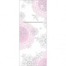 Bestecktaschen STERNENSCHEIN rose-silber aus Linclass; 600 Stück im Karton