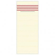 Besteckserviette aus Linclass-Light LUKAS CREME-DUNKELROT 40 x 33 cm