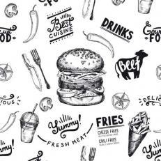 Burgerpapier BURGER MENU 30 x 30 cm