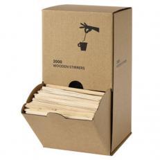 Holzrührstäbchen in Spenderbox