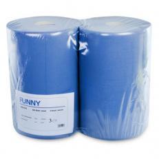 Industriepapierrolle blau 3-lagig, Recyclingpapier, geprägt; 37,5 cm