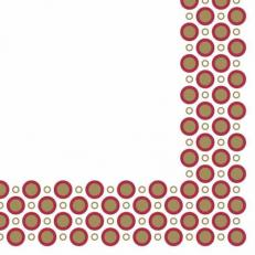 Linclass-Serviette ART-DECO-CIRCLES GOLD-BORDEAUX  40 x 40 cm; 600 Stück im Karton