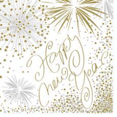 Serviette HAPPY NEW YEAR 25x25 cm aus Linclass-Light