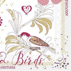Softpoint-Serviette LOVE & BIRDS BORDEAUX 40 x 40 cm