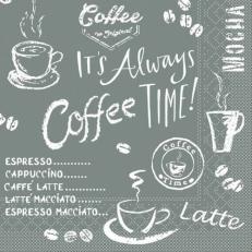 Tissue-Serviette COFFEE TIME ANTHRAZIT 24 x 24 cm