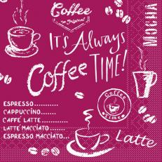 Tissue-Serviette COFFEE TIME BORDEAUX 33 x 33 cm
