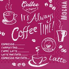 Tissue-Serviette COFFEE TIME BORDEAUX 25 x 25 cm