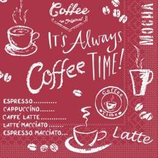 Tissue-Serviette COFFEE TIME BORDEAUX 24 x 24 cm