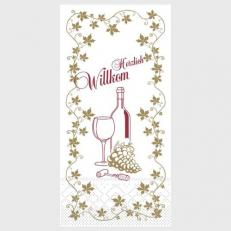 Tissue Serviette HERZLICH WILLKOMMEN (WEIN) 40 x 40 cm; 1500 Stück im Karton