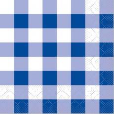 Tissue-Serviette KARO BLAU 24 x 24 cm