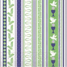 Tissue Serviette KOMMUNION BLAU-GRÜN 33 x 33 cm