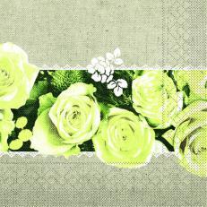 Tissue-Serviette LOVELY ROSES GELB 40 x 40 cm