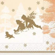 Tissue-Serviette SCHLITTENFAHRT terrakotta 40x40 cm; 1200 Stück im Karton