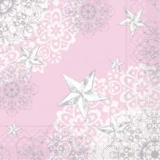 Tissue-Serviette STERNENSCHEIN rose-silber 33x33 cm; 800 Stück im Karton