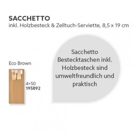 DUNI Sacchetto Eco Brown mit Holzbesteck und Serviette