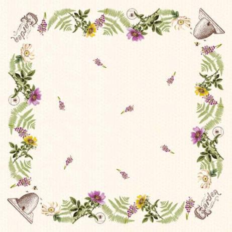 Tischdecke aus Linclass Pearl-Coating BEE KEEPING 80 x 80 cm