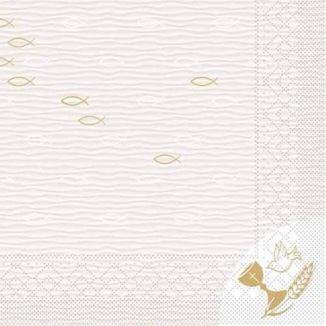 Tissue-Serviette KOMMUNION / KONFIRMATION FISCH 33 x 33 cm