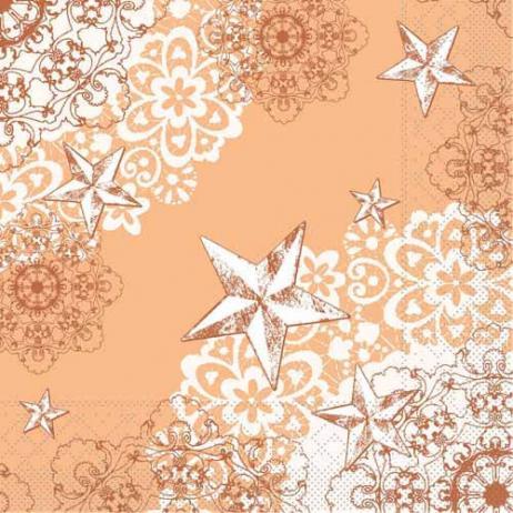 Tissue-Serviette STERNENSCHEIN aprikot-terrakotta 33x33 cm; 800 Stück im Karton